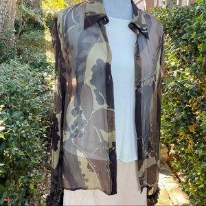Silk blouse - Sheer - Brown